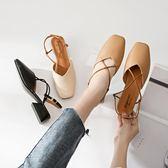 全館8折上折明天結束單鞋女2018新款正韓復古粗跟方頭瑪麗珍鞋一字扣涼鞋女