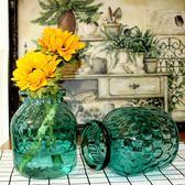 波點藍色玻璃花瓶小清新美式田園花瓶水培綠蘿鮮花插花小口花瓶