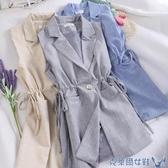 0938秋季chic氣質白領工作服女無袖西裝領小西服馬甲馬甲外套收腰 交換禮物