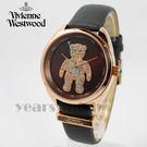 【萬年鐘錶】 Vivienne Westwood  英國 歡樂Party 晶鑽泰迪皮革腕錶  玫瑰金x棕紅   38mm  VV103BRGY