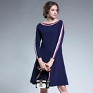 中大尺碼~氣質織帶領口A字裙袖洋裝(L~5XL)