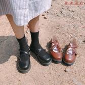 【YPRA】洛麗塔鞋子交叉扣帶女小皮鞋圓頭厚底