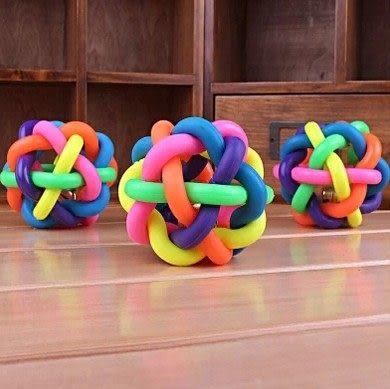 狗玩具 寵物橡膠球 七彩球鈴鐺 耐咬球 狗狗彈力球 大號 10CM《4G手機》
