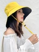 特賣遮陽帽漁夫帽女夏韓版潮日系網紅雙面遮臉防紫外線帽子大沿防曬帽遮陽帽