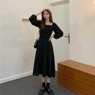 限時特銷 季年新款韓版法式方領收腰顯瘦長袖連衣裙中長款減齡裙子女