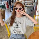 海外直發不退換正韓學院風T恤夏裝新款短袖女寬松大碼胖mm卡通半袖上衣韓版純棉(R028)