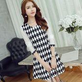 韓版女裝時尚拼接修身顯瘦長袖針織大碼連身裙【韓衣舍】