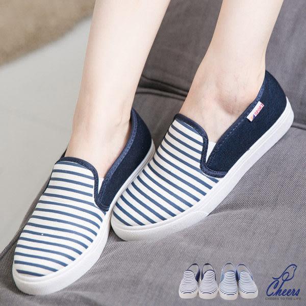 休閒鞋/帆布鞋*鵲兒*休閒女孩海洋風條紋棉質休閒懶人鞋【WR1322】
