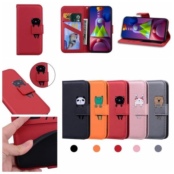 時尚 卡通動物 翻蓋皮套三星M51 錢包款手機殼 三星 Galaxy M51 掀蓋保護殼 磁釦手機套 可愛 內置矽膠