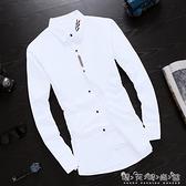 秋季長袖白色襯衫男士韓版修身男生襯衣潮流男裝休閒寸衫男式外套晴天時尚