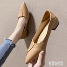 平底單鞋2020春款黑白色潮鞋粗跟高跟平底工作尖頭奶奶鞋子 LF4543【宅男時代城】