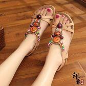 波西米亞魚嘴平底女涼鞋民族串珠水鉆沙灘鞋女鞋