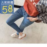 《BA4354-》腰部綁帶水洗牛仔窄管褲 OB嚴選