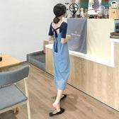 韓國針織短袖蝴蝶結露背連身裙洛麗的雜貨鋪