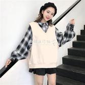 韓版假兩件拼接格子套頭衛衣學生寬鬆百搭長袖上衣女  歐韓流行館