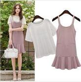 現貨粉色5XL短袖T恤上衣背心裙二件式洋裝中大尺碼15426/夏裝新款 依品國際