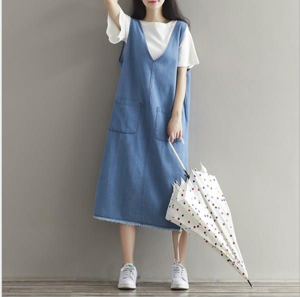 【GZ B1】牛仔長裙 韓版寬鬆顯瘦懶惰感背心裙 V領洗水牛仔連身裙 洋裝