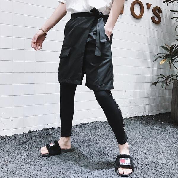 FINDSENSE  2019 夏季 日本 新款 嘻哈 純色 休閒 五分褲短褲