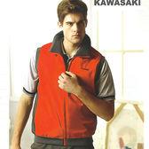 日本名牌 Kawasaki 運動休閒雙面穿背心-深灰/紅-#K231A