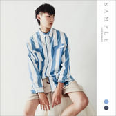 韓國製 寬版襯衫 水洗寬直紋【TS20431】- SAMPLE