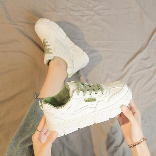 小白鞋子女鞋年夏季新款百搭學生薄款厚底白鞋透氣老爹帆布鞋 【全館免運】