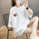 短袖t恤女純棉2021年新款夏韓版寬鬆大碼ins潮中長款半袖上衣服桖【快速出貨】