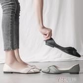 新品豆豆鞋平底單鞋女夏款尖頭仙女網紅軟皮淺口瓢鞋女歐洲站百搭豆豆鞋 芊墨左岸