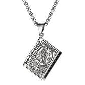 《QBOX 》FASHION 飾品【C21N1908】精緻個性歐美十字架禱告經書合金墬子鈦鋼項鍊/掛飾