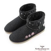 Paidal x卡娜赫拉的小動物 雪花飛電繡內鋪毛短筒雪靴-黑