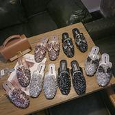 2019新款韓版方頭平底仙女鞋亮片蝴蝶結包頭懶人半拖鞋穆勒鞋