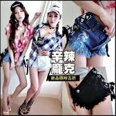 克妹Ke-Mei【AT50538】日本JP獨家側字母馬甲繃帶破損感毛邊牛仔短褲