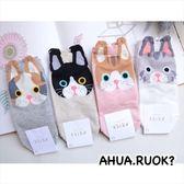韓國襪子 大頭貓咪花邊造型短襪 品牌長襪短襪穿搭 韓妞必備 素色純棉襪 阿華有事嗎