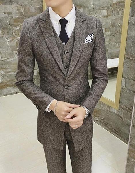 FINDSENSE品牌 韓國男 人字紋簡約 小西裝 修身西裝 西裝外套 單件外套