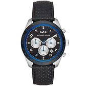 【台南 時代鐘錶 Michael Kors】MK8706 日期顯示 皮革錶帶 三眼計時男錶 黑/藍 43mm
