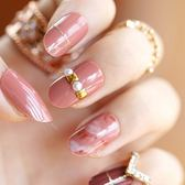 光療感指甲油美甲工具用品 鉚釘裝飾暈染圓頭假指甲貼片甲片 日系成品手指甲片配外套皮衣風衣