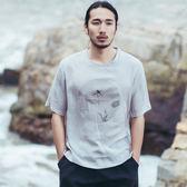 中國風古典印花棉麻T恤寬鬆亞麻上衣中式短袖汗衫青少年體恤衫男