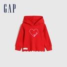 Gap女幼童 碳素軟磨棉質休閒上衣 656551-紅色