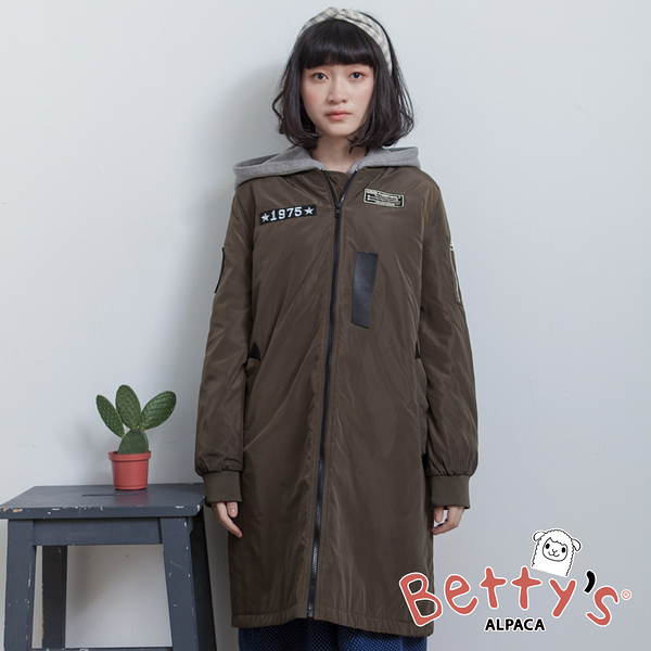 betty's貝蒂思 軍風連帽長版拉鍊大衣(深綠)