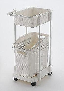 日本製*日本知名品牌RICHELL 二層洗衣籃附輪 -白色