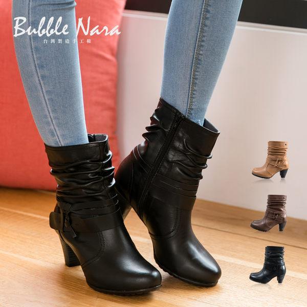布魯克林抓皺高跟短靴。Bubble Nara 波波娜拉~ 寬肉腳可穿,義大利進口柔軟小牛皮NB17276