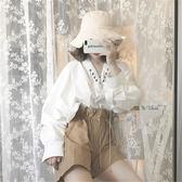 韓繫復古chic風百搭女裝綁帶V領長袖襯衫 高腰顯瘦繫帶闊腿短褲潮【萬聖節鉅惠】