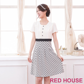 【RED HOUSE 蕾赫斯】單排釦滿版花朵裙洋裝(白色)