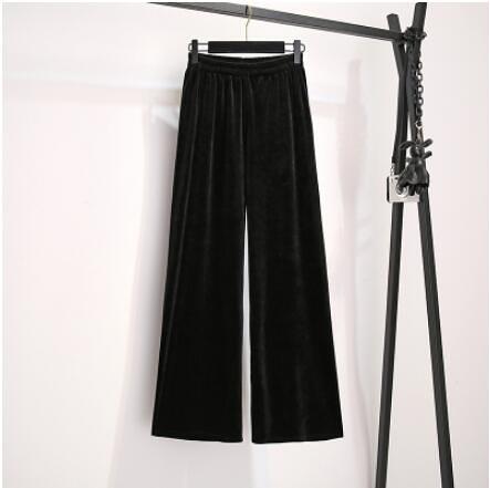 L-4XL大碼長褲~薄款大碼女褲子胖mm大腿粗的褲子金絲絨垂感闊腿褲3845.3F067衣時尚