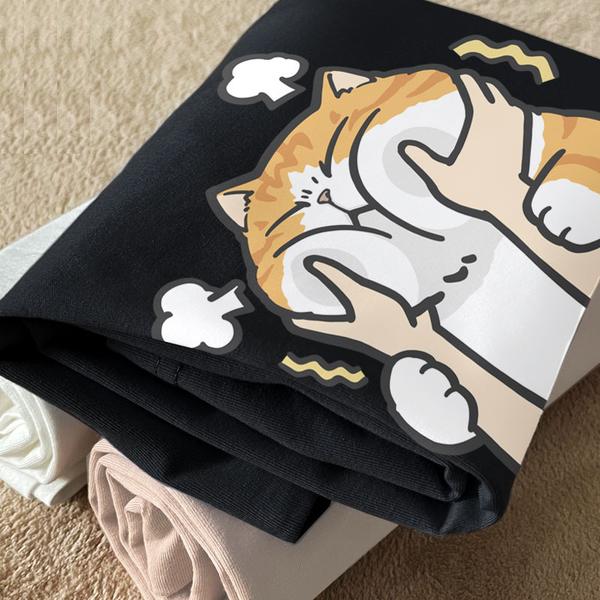 情侶裝24小時快速出貨 MIT台灣製【Y0899-28】短袖-橘貓 推推腮幫子 可單買 艾咪e舖 寵物 貓咪