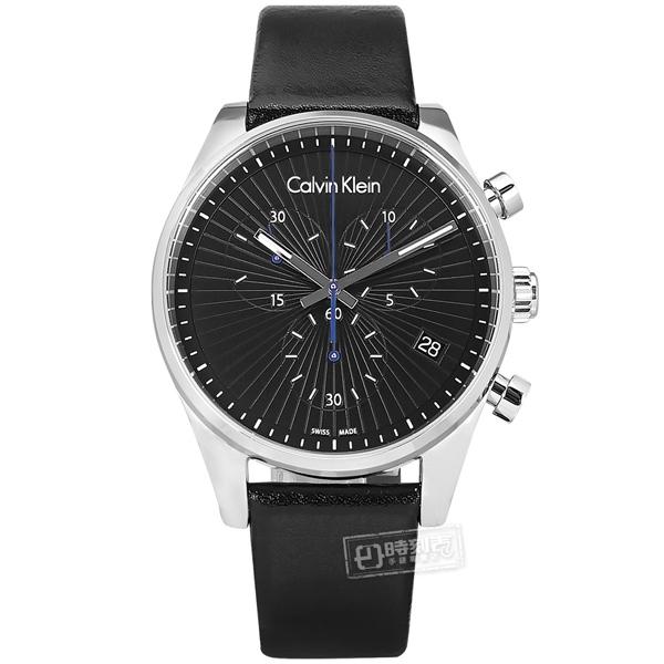 CK / K8S271C1 / 個性潮流 三眼計時 放射狀錶盤 礦石強化玻璃 日期 皮革手錶 黑x銀框 42mm