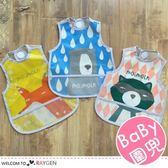 卡通動物圖案寶寶背心式圍兜 吃飯兜 防水衣