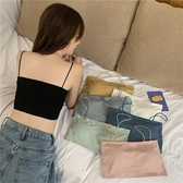 夏季新款韓版學生少女冰絲吊帶裹胸純色打底無鋼圈抹胸內衣女