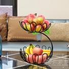水果籃客廳家用零食果盤歐式現代個性時尚雙層蓮花創意茶幾擺件 小時光生活館