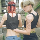 束胸 繃帶les 帥t短款薄透氣網孔冰絲拉鍊運動內衣cos女塑胸衣 此商品不接受退貨或退換