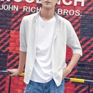韓版條紋襯衫男士青年襯衣韓版潮流夏季新款七分袖薄款 育心小館